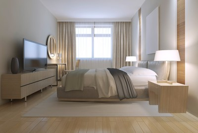 Contemporary bedroom design. Spacious room with light wood parquet flooring, light furniture and white walls with decorative niche. Massive double bed on white nylon carpet. 3d render