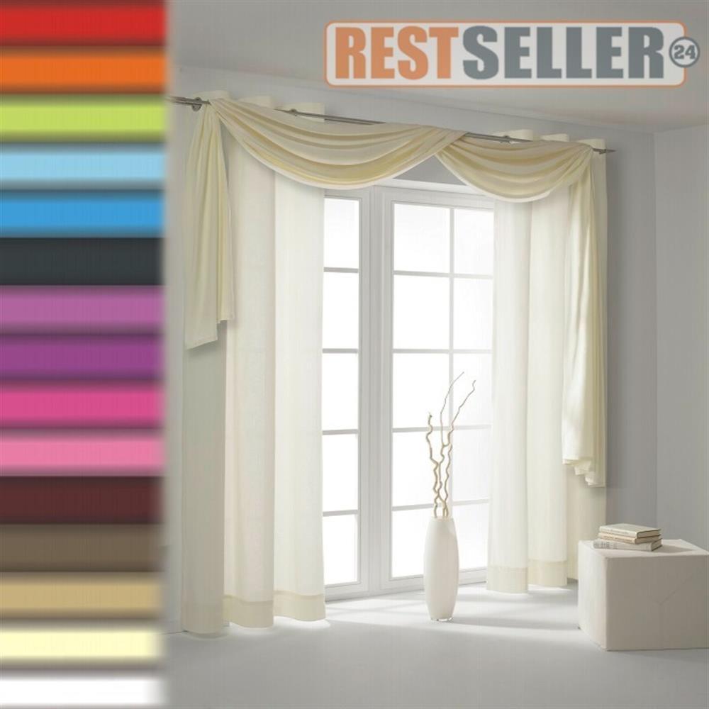 querbehang freihanddeko dekostoff gardinen stoff uni transparent meterware 600cm ebay. Black Bedroom Furniture Sets. Home Design Ideas