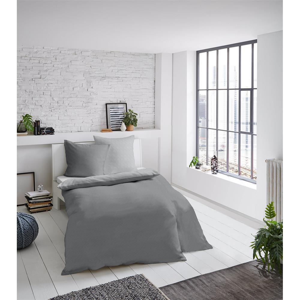 Bed Linen Melange Uni Grey 135x200 cm