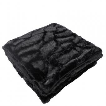 Decke in Felloptik schwarz