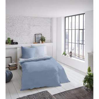 Bettwäsche Melange uni blau 155x220 cm