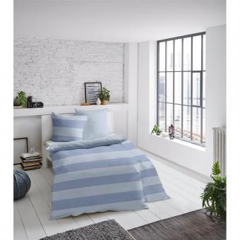 Bettwäsche Melange Streifen blau 135x200 cm
