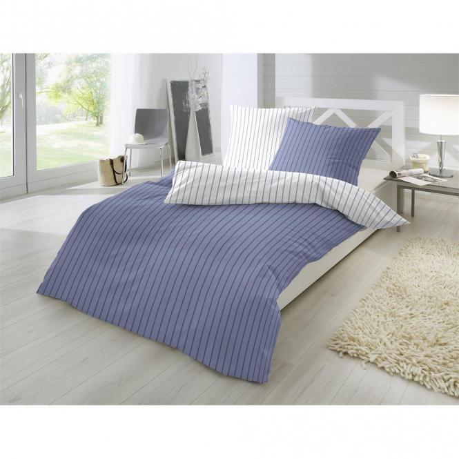Restseller24 Perkal Bettwasche 155x220 Blau Feine Streifen