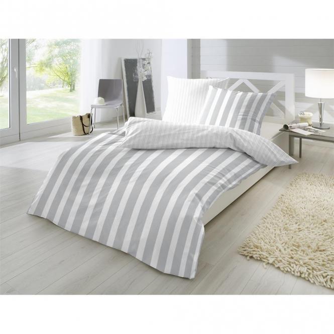 Restseller24 Perkal Bettwasche 155x220 Silber Breite Streifen