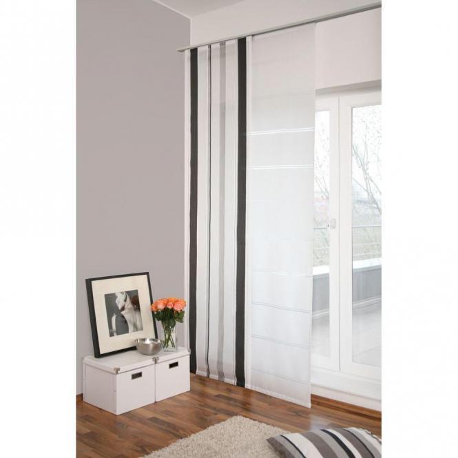 restseller24 fl chenvorhang silbergrau gestreift. Black Bedroom Furniture Sets. Home Design Ideas